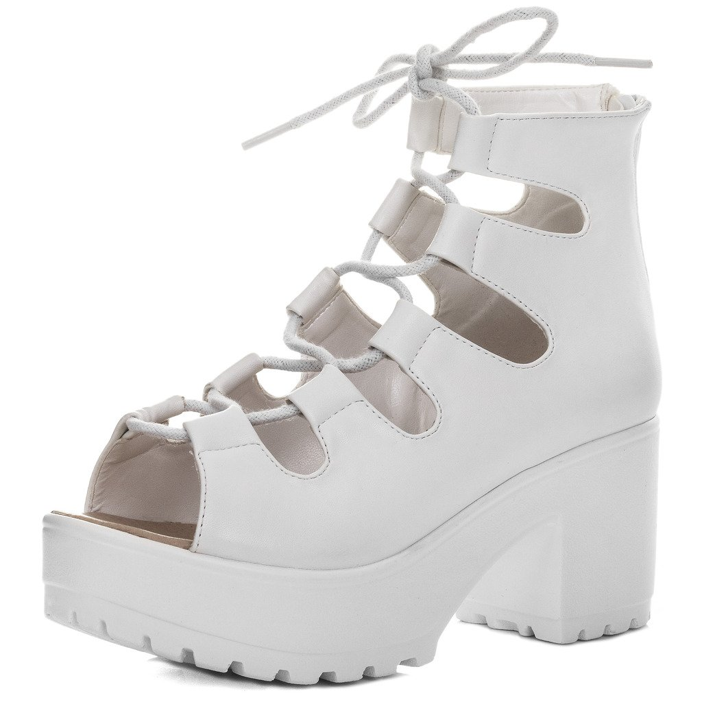 LACE UP CLEATED SOLE BLOCK HEEL SANDALS PUMPS SHOES WHITE LEATHER STYLE SZ 8