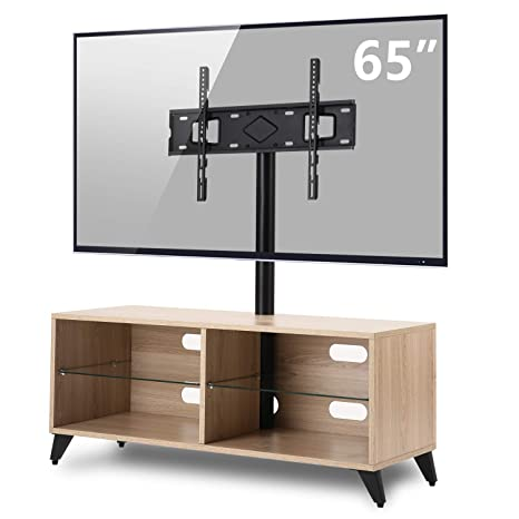 on sale 02a41 6a41a TAVR Wood Corner TV Stand Storage Console with Swivel Mount Height  Adjustable TV Entertainment Center for 32 42 50 55 60 65 inch Plasma Flat  or Curved ...