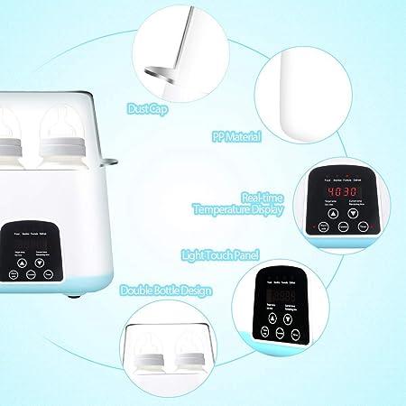 PQZATX Calentador de BiberóN de Enchufe de la UE, Esterilizador de de BiberóN Termostato Inteligente 5 en 1 Calentador de BiberóN de Doble BiberóN para Leche Materna o FóRmula