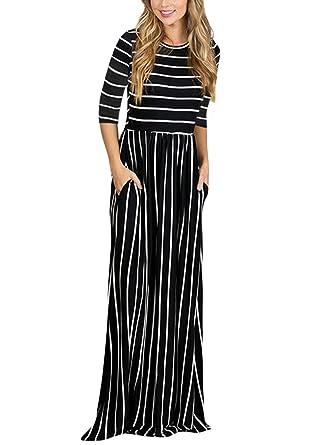 48fa1ebb92 Amazon.com  Bdcoco Women s Short Sleeve Color Block Striped Loose Casual  High Waist Shirt Maxi Dress  Clothing
