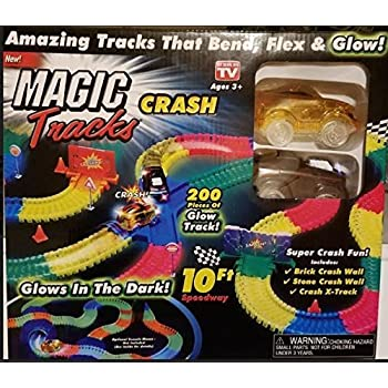 Ontel Magic Tracks Crash with 2 Race Car and 10 ft of Flexible, Bendable  Glow in The Dark Racetrack, As Seen on TV