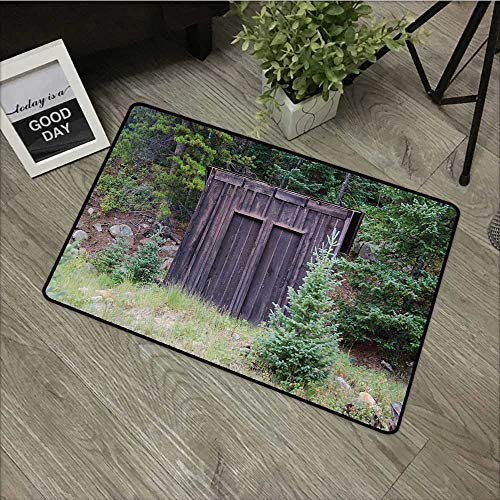Restaurant mat W19 x L31 INCH Outhouse,Farm Life House Wooden Door of Cottage Hut in Woodland Leaves Art Print,Dark Brown and Green Easy to Clean, Easy to fold,Non-Slip Door Mat -