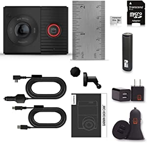 Garmin Dash Cam Tandem Bundle with Front and Rear Dual-Lens, 1440P HD, Auto Incident Detection and Recording, Transcend 32gb Micro SD Card + PowerBank + USB Car Charger + USB Wall Charger (10 Items)