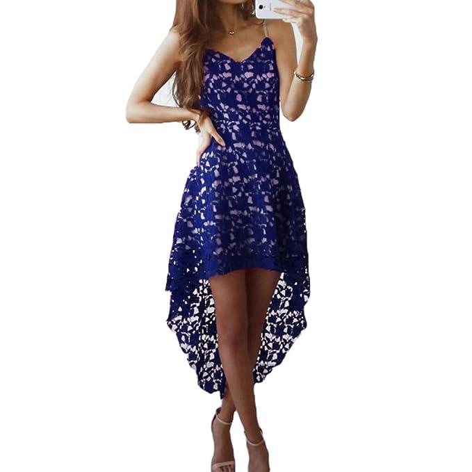 Vestidos Mujer Vestido de encaje Vestido Sling V escote sin mangas Vestidos asimétricos de color sólido