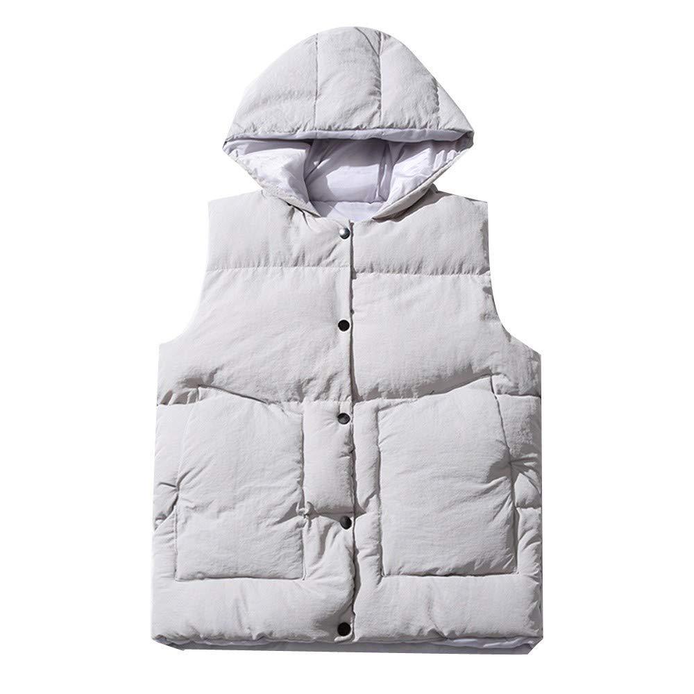 Dressin_Coat minRan ビッグ メンズ キルト ベスト ジャケット 取り外し可能 フード付き ジップアップ ノースリーブ パファー 暖かい 冬 ベスト B07JBWXJK4  グレー XXX-Large