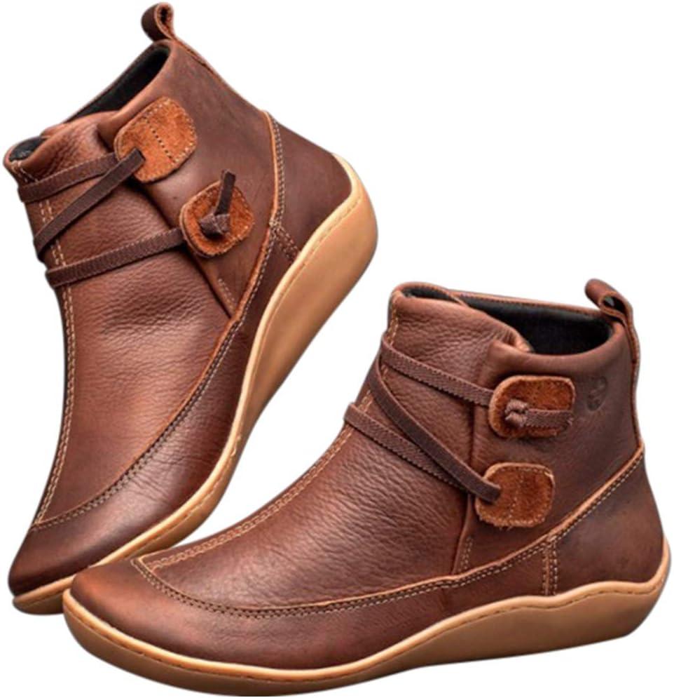 Coomir Botas De Nieve,Botas de Invierno, Botas de Nieve de Invierno para Mujer Botines de Cuero de Primavera Zapatos Planos Botas Cortas de Mujer