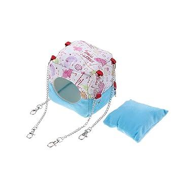 POPETPOP Hamaca ratonera Hamaca Caliente Casa de Hamaca con tapete de Cama para pequeños Animales Peludos de Color Azul: Amazon.es: Productos para mascotas