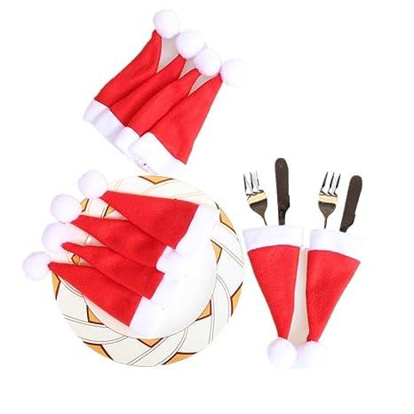 Hey ~ Yo 10pcs Navidad vajilla cubiertos titulares bolsillos cena vajilla cubiertos funda bolsa cover decoración