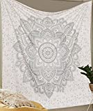 Silver Tapestry Mettalic Shine ''Twin Silver Ombre Tapestry Wall hanging'' Flower Ombre Bedding , Mandala Tapestry, Multi Color Indian Mandala Wall Art Hippie Wall Hanging Bohemian Bedspread