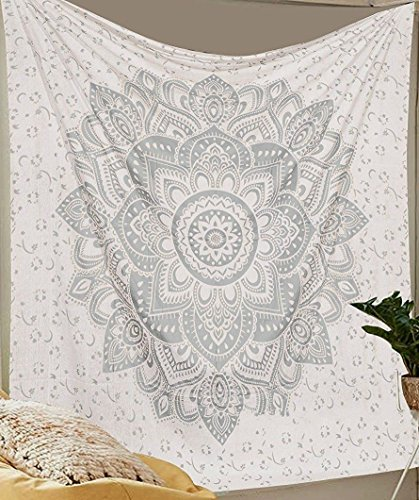 Silver Tapestry Mettalic Shine Twin Silver Ombre Tapestry Wall hanging Flower Ombre Bedding , Mandala Tapestry, Multi Color Indian Mandala Wall Art Hippie Wall Hanging Bohemian Bedspread
