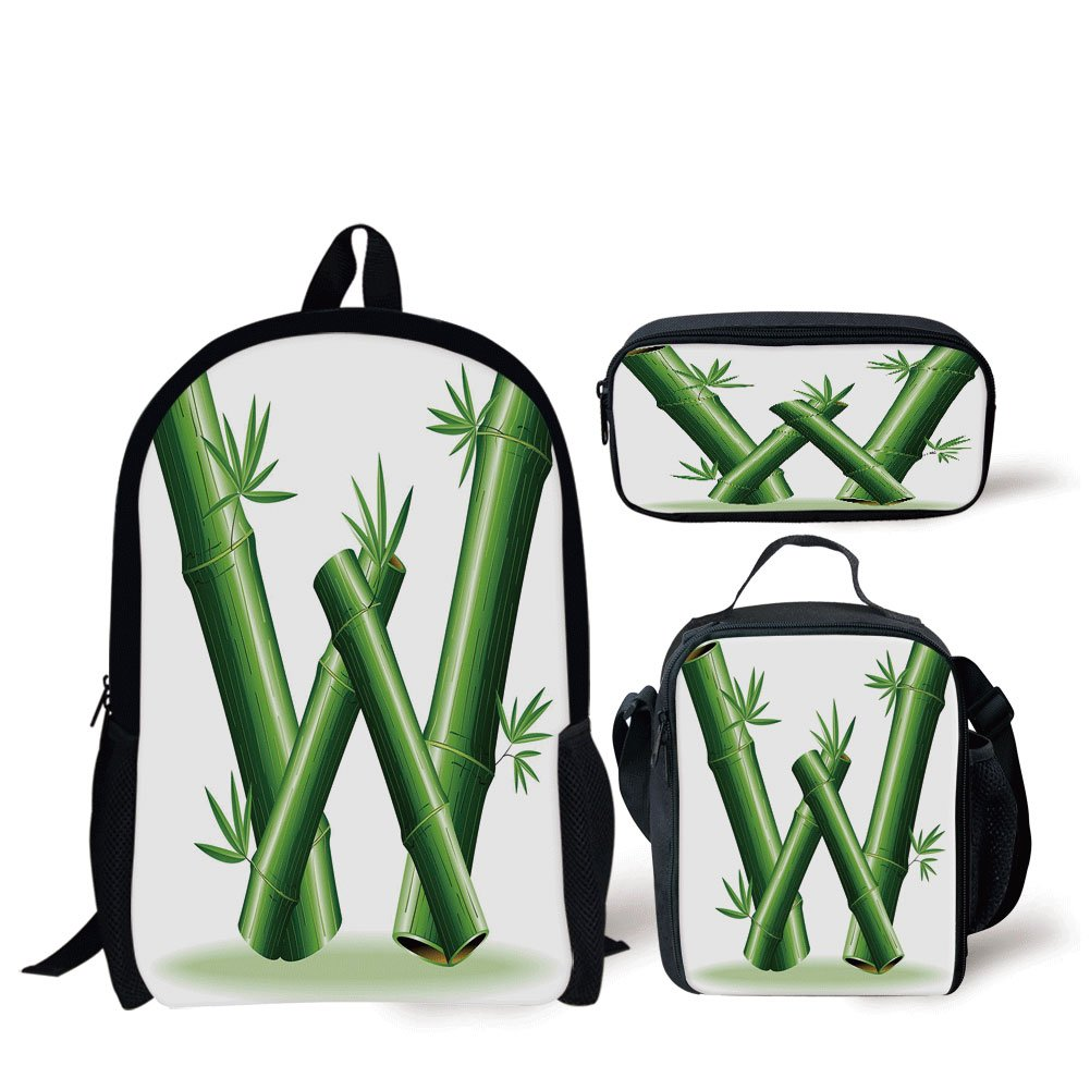 School Lunch Pen Bags,Letter W,Bamboo Branches Forming Letter W Zen Spa Themed Alphabet Typeset Green Leaves,Green White,Personalized Print by iPrint (Image #1)