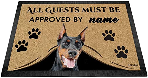 BAGEYOU All Guests Must be Approved Outdoor Doormat with My Love Dog Doberman Welcome Floor Mat Custom Name 35.4 x 23.6