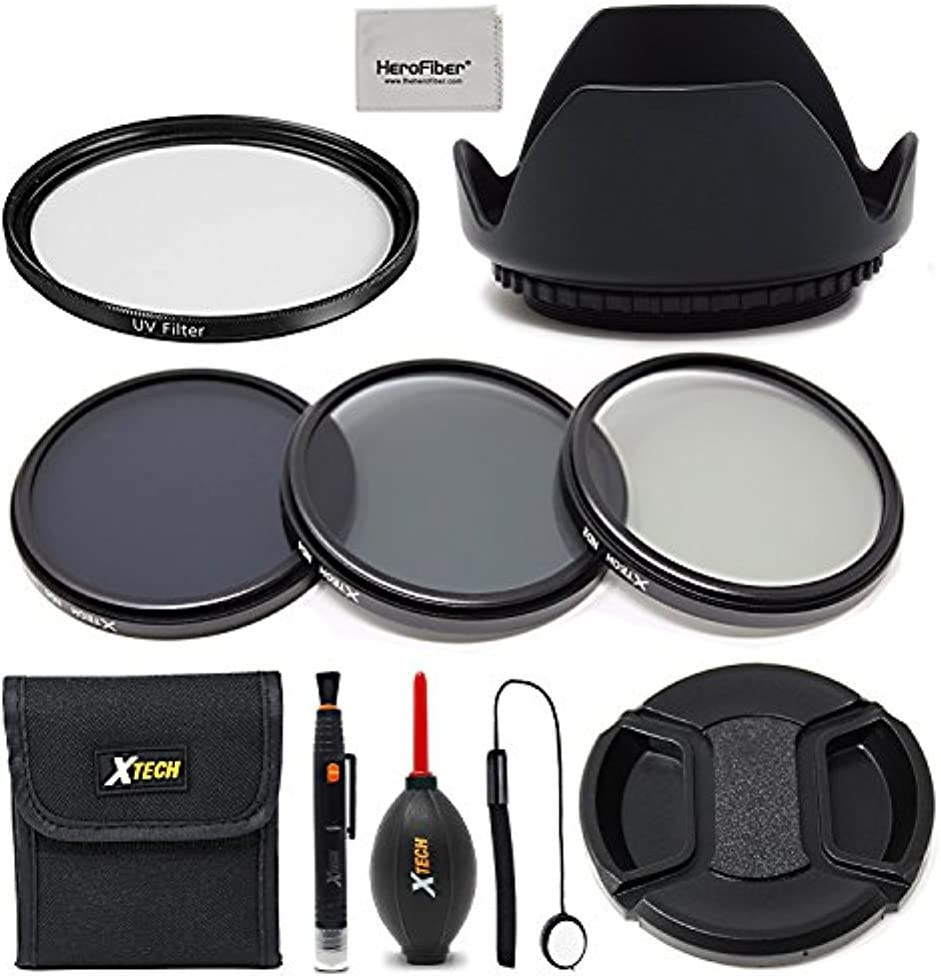 55mm UV Filter Camera Cleaning kit for All Lense and Cameras with a 55mm Lens Thread. 55mm Lens Hood 55mm Lens Cap 55mm Lens Accessories Kit w// 55mm ND Filters Kit
