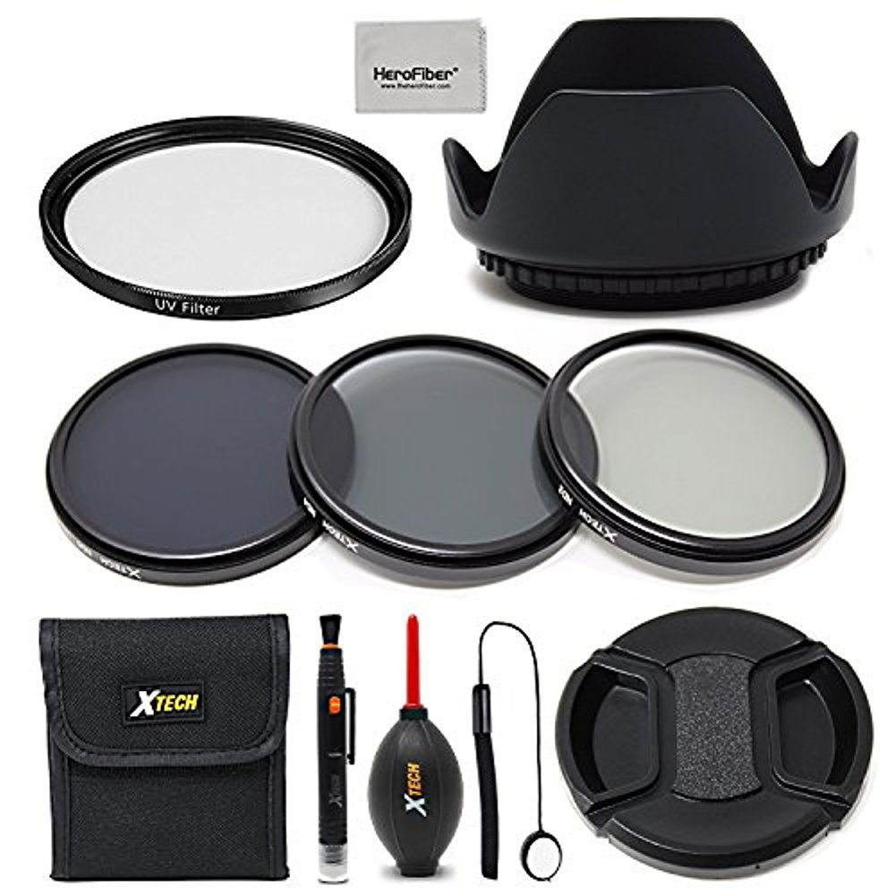 55mm Lens Accessories Kit w/ 55mm ND Filters Kit, 55mm Lens Hood, 55mm UV Filter, 55mm Lens Cap + Camera cleaning kit for all Lense and Cameras with a 55mm Lens thread. HeroFiber 4332147797