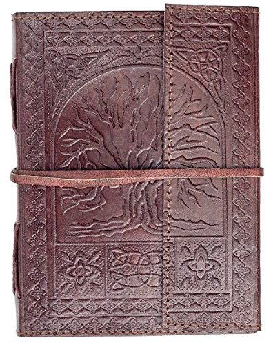TREE OF LIFE LEATHER Writing Journal Notebook - Handmade Leather Bound Daily Notepad For Men & Women Unlined Paper 7 x 5 Inches, Best Gift for Art Sketchbook, Travel Diary to Write in