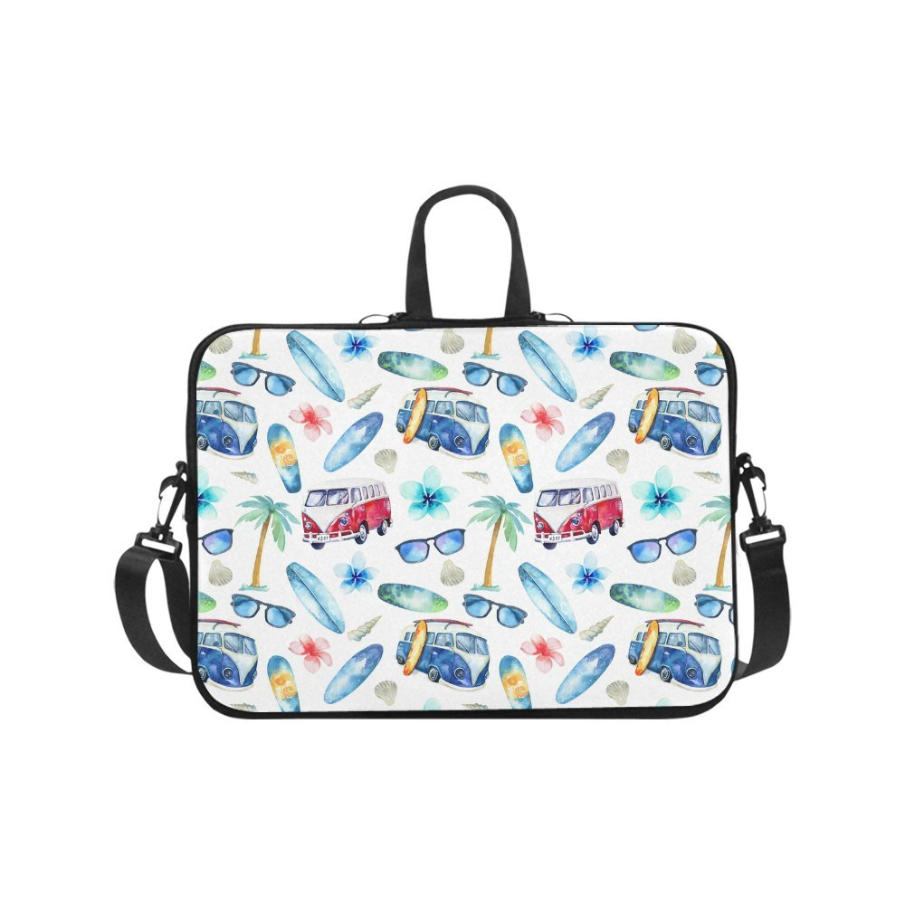 InterestPrint Funny Watercolor Tropical Beach Palm Tree Surfboard and Car 17 17.3 Inch Water Resistant Neoprene Protective Laptop Notebook Sleeve Shoulder Bag with Handle & Strap for Woman Man