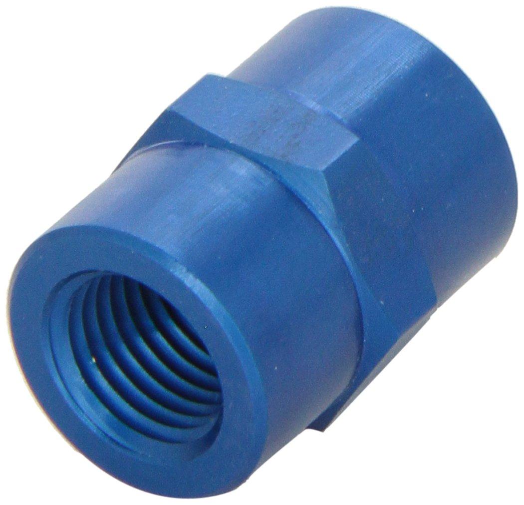 Aeroquip FCM2130 Blue Anodized Aluminum 1/8' Female NPT to 1/4' Female NPT Straight Coupling