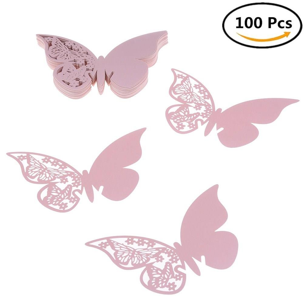 100 Pcs Butterfly Place Cards Table Name Cards Seating Card Wine Glass Cup Decoration Postcards Wall Decals Sticker for Engagement Wedding Shower Party Favor, Blue smileforlife