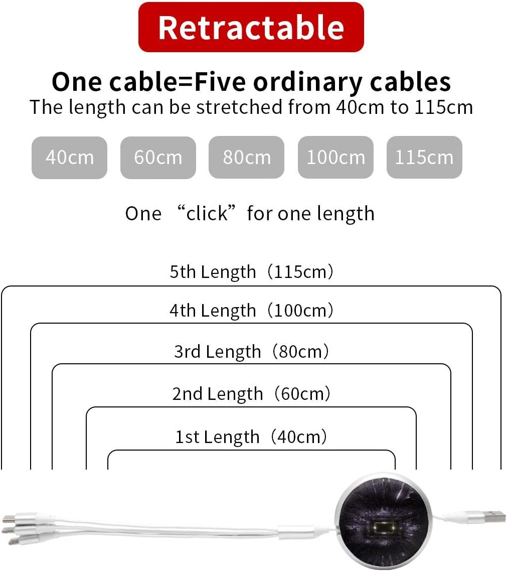 3D Technic Technology Space TunnelMulti USB Charger Cable Retractable 3.8ft 3 in 1 Multiple Charging Cord Adapter with Mini Type C Micro USB Port Connectors for Cell Phones Tablets Universal Use
