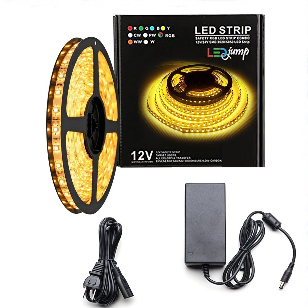 LEDJump Under Kitchen Cabinets Bright LED Lights Lighting Dimmable 12V Volts, 3M Adhesive Tape, 16FT/5Meters Include Power Supply (High Power Warm White 2500K-2700K + 60 Watt Power)