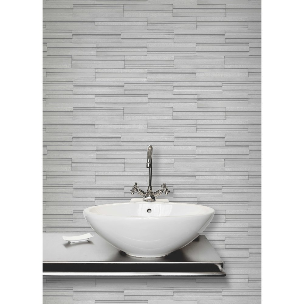 Fine Decor Ceramica Slate Tile Washable Wallpaper Soft Grey ...