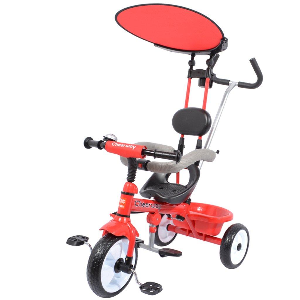HAIZHEN マウンテンバイク 子供の三輪車の鉄フレーム自転車16歳の泡ホイールトロリー調整の天井を持つプッシャーコントロール方向ペダルカー 新生児 B07DL776VT 赤 赤