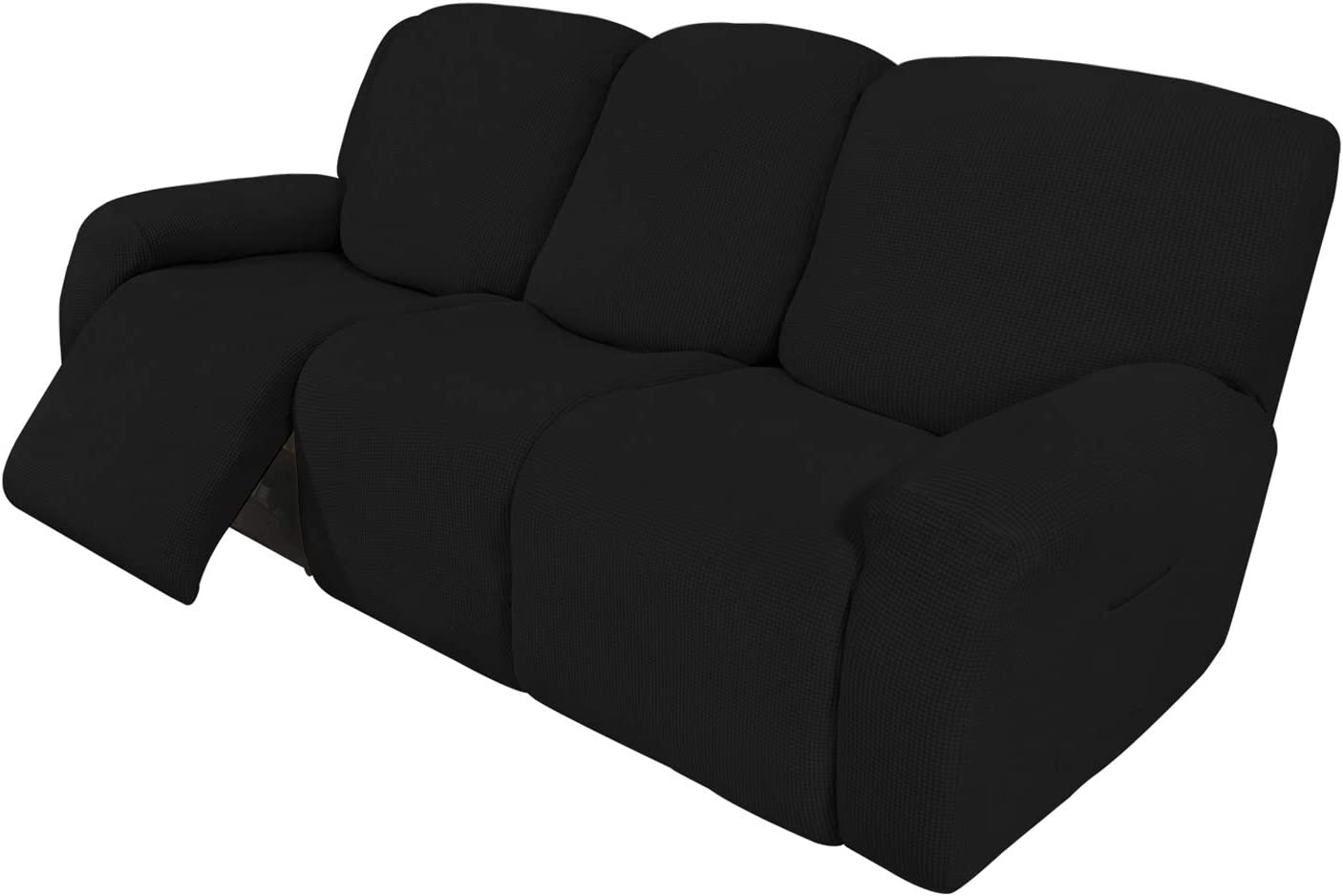 Easy-Going 8 Pieces Recliner Sofa Stretch Sofa Slipcover Sofa Cover Furniture Protector Couch Soft with Elastic Bottom Kids, Spandex Jacquard Fabric Small Checks Black