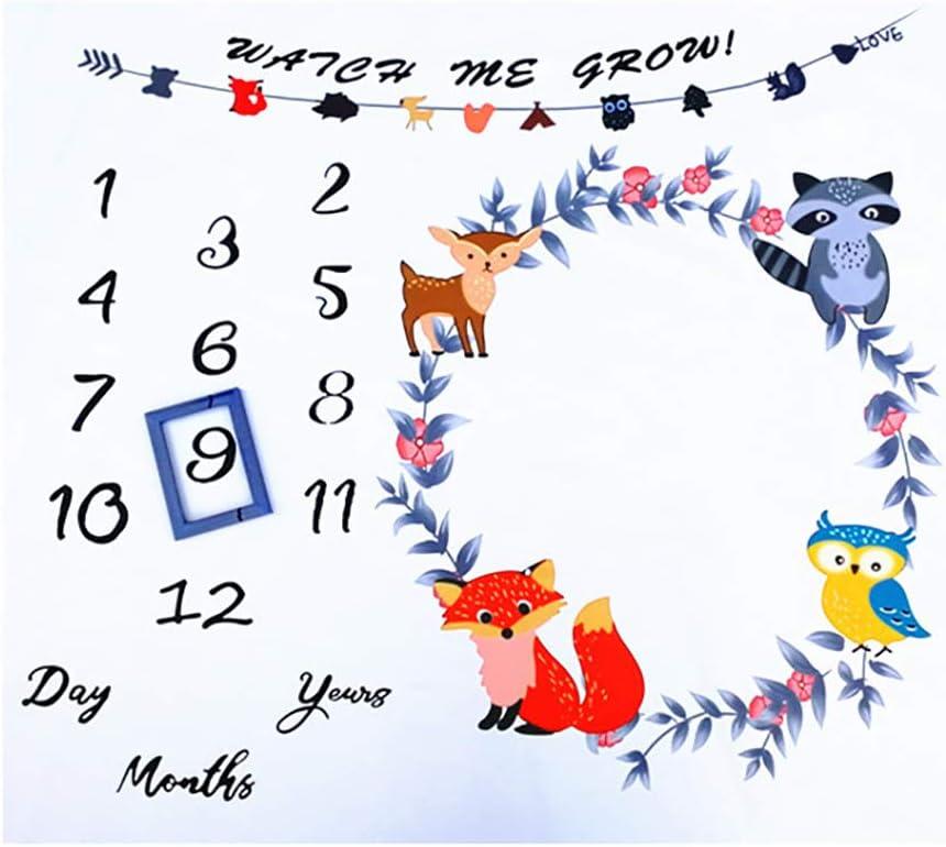 JDD Manta de bebé Mensual Animales del bosque Recién nacido Hito mensual Manta Manta Hito Bebé Foto Manta Ducha Regalos para niños o niñas