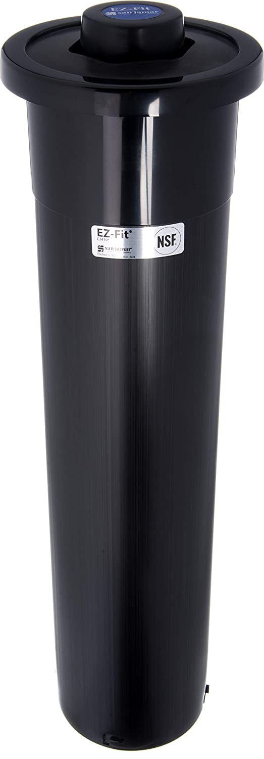 San Jamar - C2410CBK C2410C One Size Fits All EZ Fit in-Counter Cup Dispenser with Black Gasket, Fits 8oz to 46oz Cup Size, 2-7/8