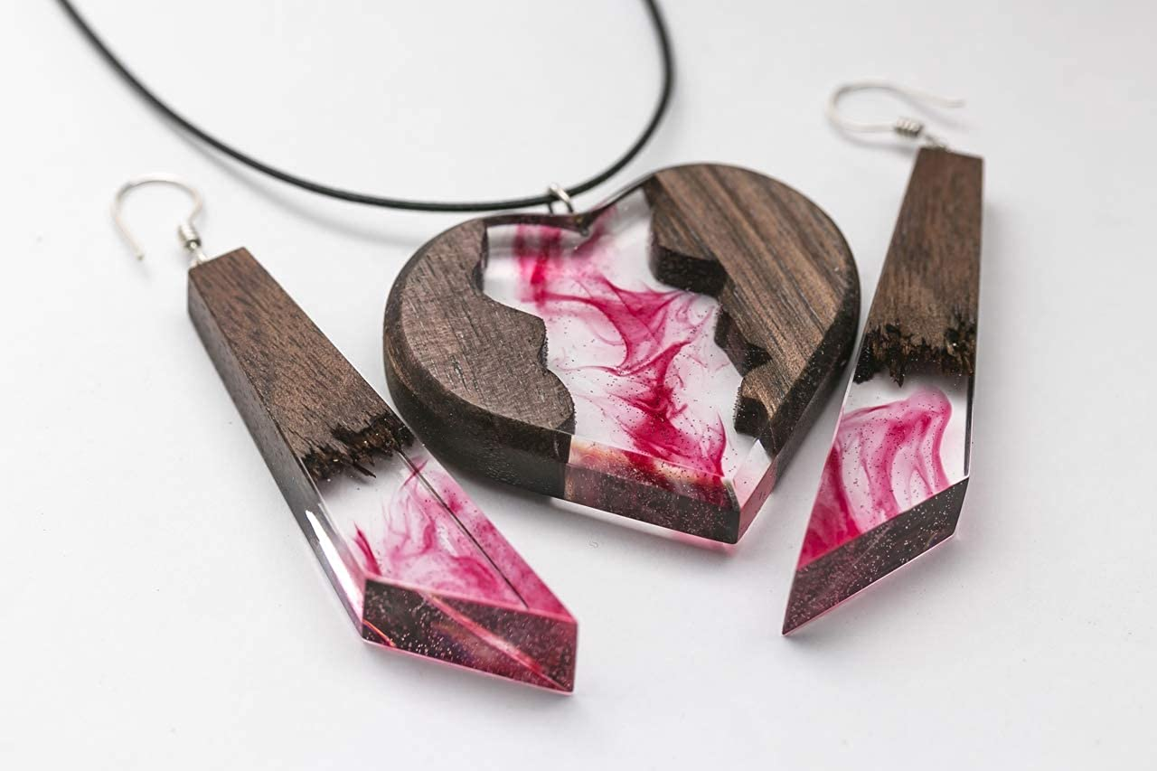 Wood Resin Necklace Pendant Heart Handmade Wooden Designer Jewelry Gift for her with Wooden Box