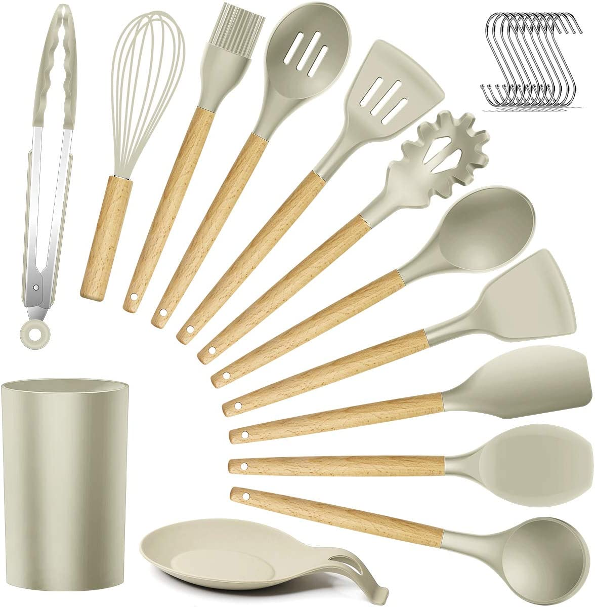 Silicone Kitchen Utensils Cooking Utensil Set - Cooking Utensils Tools with Wooden Handles Include Turner Tongs Spatula Spoon for Nonstick Cookware Non-Toxic Heat Resistant (13 PCS)