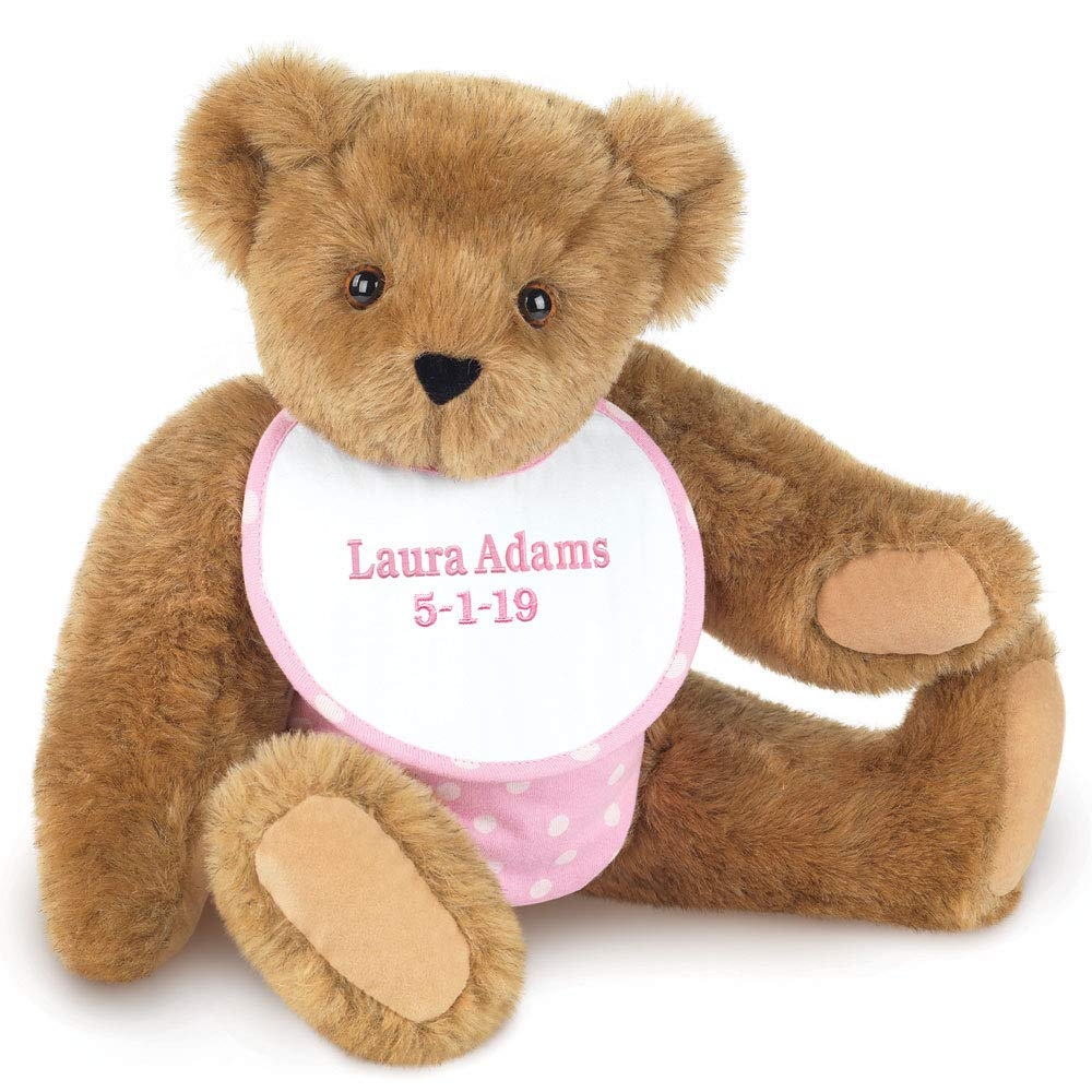 "Vermont Teddy Bear - New Baby Custom Gift, 15"" New Baby Girl Teddy Bear, Pink"