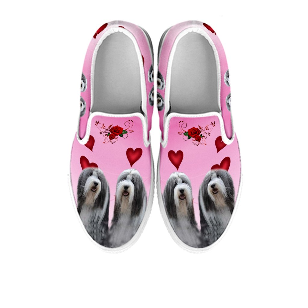 petkanvas Womens Slip Ons-Bearded Collie Print Slip Ons Shoes for Women