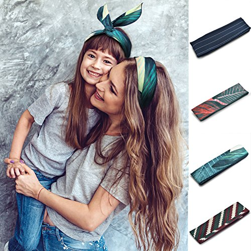 Cloudo Boho Wire Wrap Headbands For Women Floral Leaf Adjustable Ears Bunny Hair Bands Girls Headband