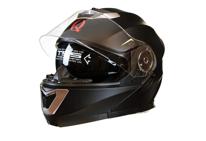 Qtech MODULAR Flip-Up Motorcycle Helmet with Double Visor WHITE XL 61-62cm
