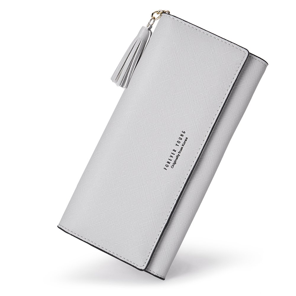 Wallets for Women Slim Leather Billfold Clutch Fashion Ladies Credit Card Holder with Removable Card Slot gray