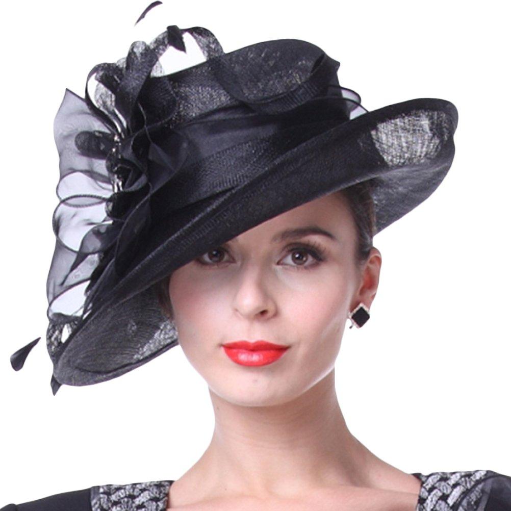11aef4f878e Amazon.com  KUEENI Women Hats Church Hats Elegant Lady Sinamay Hats Black  Color  Home   Kitchen