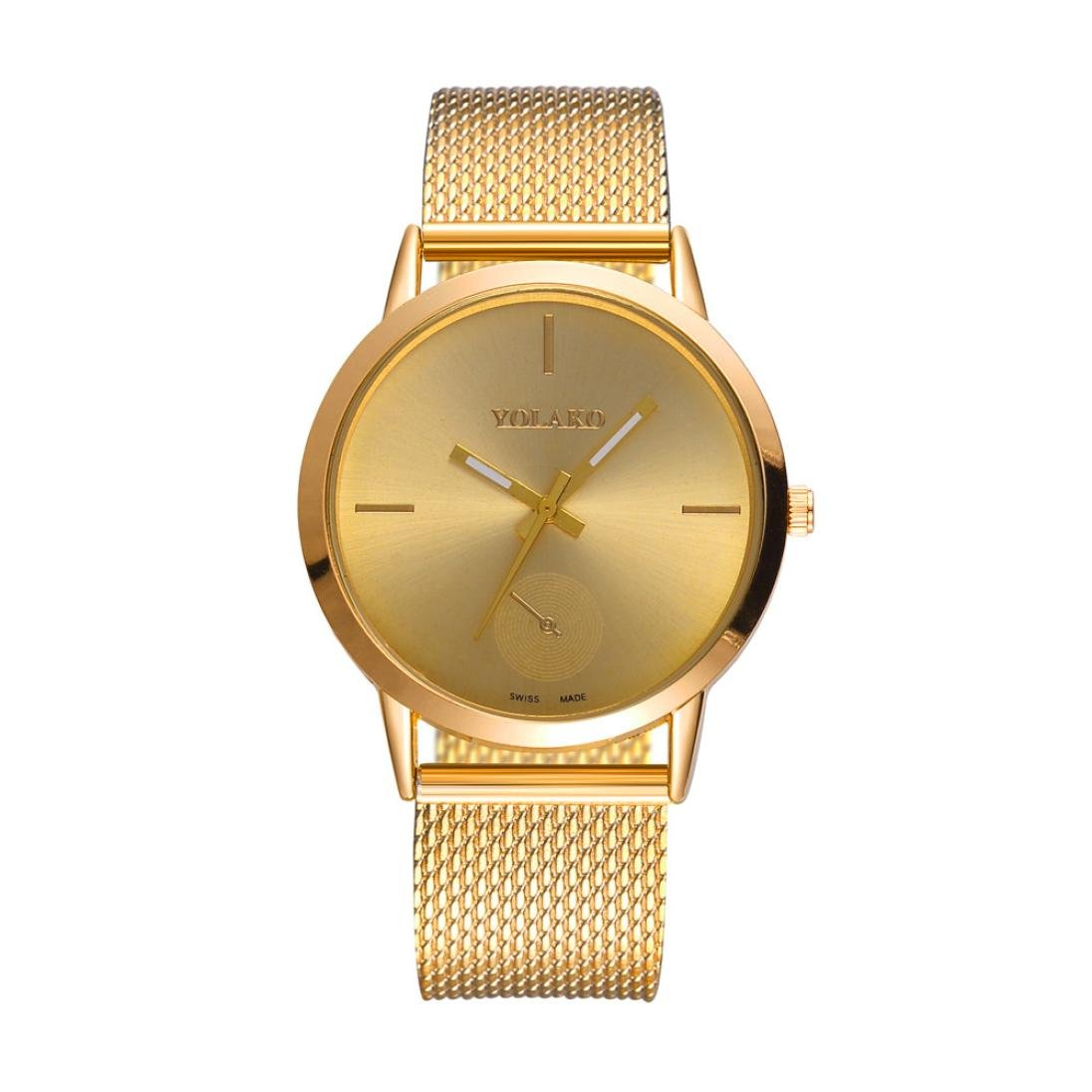 Jaylove 2018 Fashion High Hardness Glass Mirror Men and Women Wristatchs General Mesh Belt PU Leather Quartz Watch (Gold)