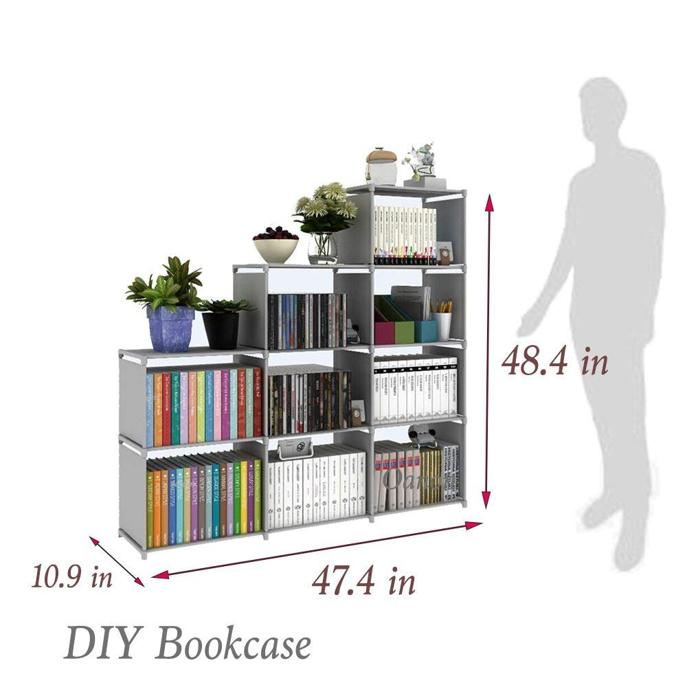 Hosmat 9-cube diy children's bookcase 30 inch adjustable bookshelf organizer shelves unit, folding storage shelves unit (Grey_9 Cubes)