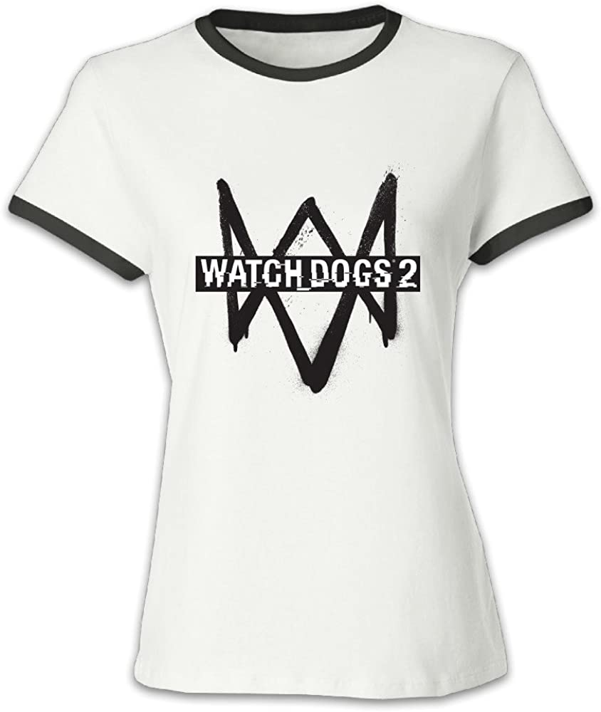 Women's Red Slim Fit Watch Dogs 2 2016 Game Logo Tshirt US Size