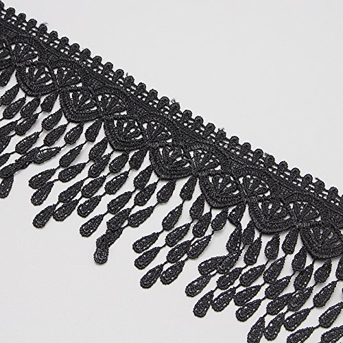 2y/lot 9cm Raindrop Embroidery Tassels Lace Fabric Trim Ribbons - Black Tassel Fabric