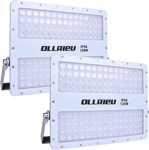 ollrieu 2 Pack 120W LED Flood Lights Outdoor,12500lm Bright Security Lighting,110V-240V Daylight White 5000K,IP66 Waterproof Work Lights Fixture,Portable Accent Light for Garden,Garage,Patio