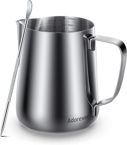 Jarra de caf/é de acero inoxidable de 500 ml para esparcir leche negro