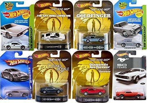 Ultimate 007 Hot Wheels 8 Car Set James Bond 4 Retro Entertainment 4 mainline with Goldfinger Aston Martin, Lotus & Mustang