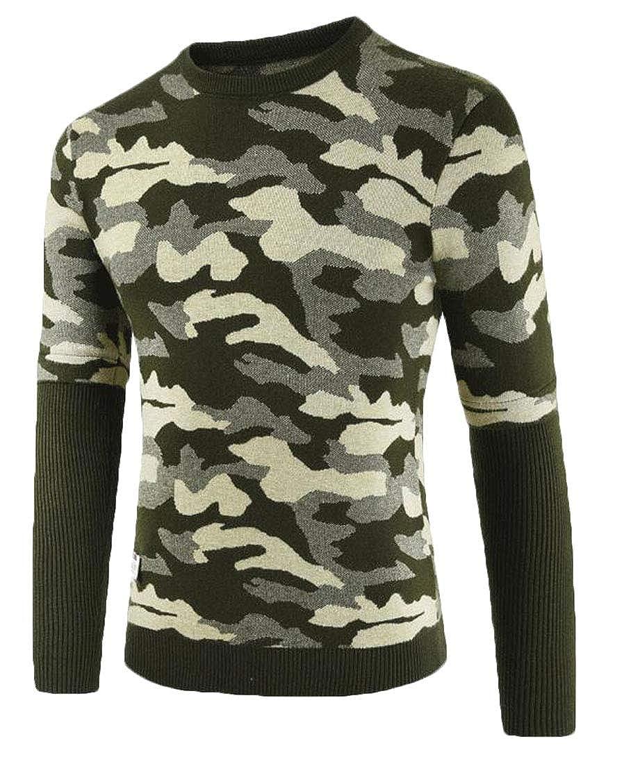 Hurrg Mens Crew Neck Camo Print Warm Slim Pullover Knitting Winter Sweater