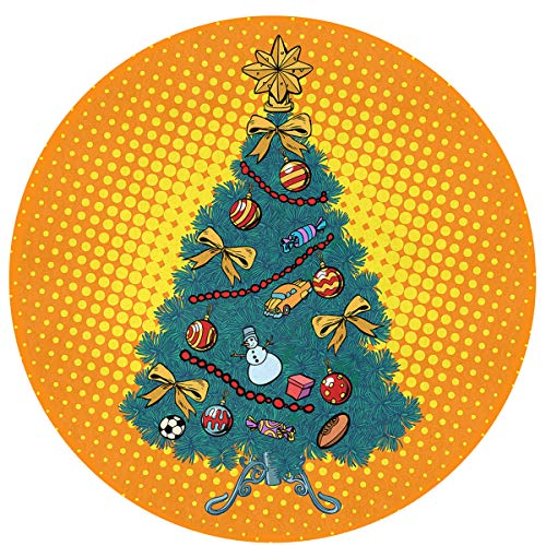 MOANDJI Pop Art Christmas Tree Soft Circular General Purpose Floor Mat Or Rug Use in Front of Bedroom, Kitchen, Bath Tub, Toilet