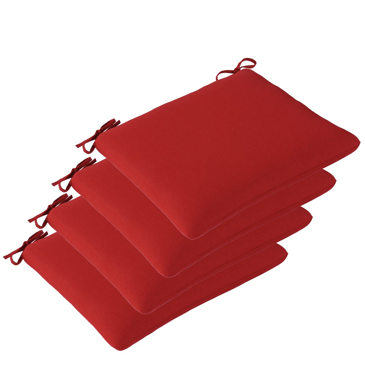 Set of 4 Outdoor Seat Cushions 20'' x 19'' x 2'' in Olefin Fabric Ruby by Comfort Classics Inc.