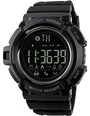 SKMEI Smartwatch Deportivo con Pantalla Digital Resistente al Agua con Funciones de Salud Podómetro Contador de Calorías Medidor de Distancia Notificaciones de Redes Sociales Conexión Bluetooth. Negro