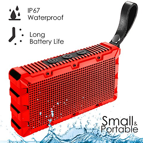Water Resistant Silicone Bluetooth Speaker (Red) - 3