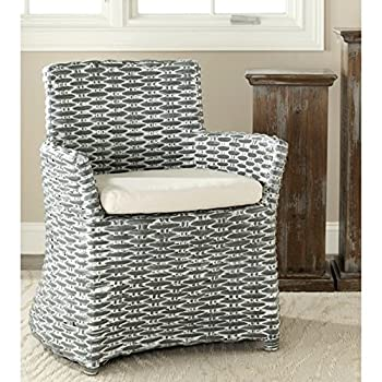 Safavieh St Thomas Indoor Wicker Washed-out Grey Living Room Arm Chair